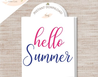"""1-""""Hello Summer"""" SVG Cut File/ INSTANT Download/ Commercial Use/ Tote bag/ Mug/ Endless possibilities!"""