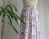 Vintage Pink Floral Skirt 1980s Dorothy Perkins Midi Summer Style. Bohemian Picnic Watercolour Skirt. UK size 10/12. EUR 38