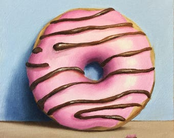 Iced Donut, Ready to Hang Original oil painting still life by Jane Palmer, kitchen art, food art wall art doughnuts