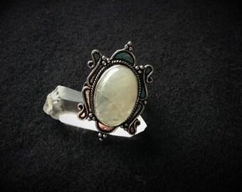 White color large Labradorite ring silver 59-60