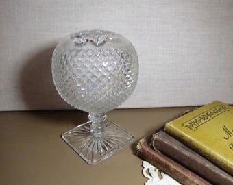 Pressed Glass - Diamond Pattern - Pedestal Ball Vase