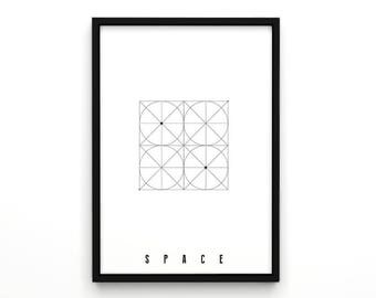 Geometric Art Typographic Print - Space -Black and White Wall Decor Minimalist Geometric Art Gift Idea Scandinavian Nordic Poster Art