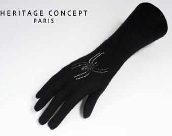 Long gloves cashmere big spider Swarovski rhinestones, Valentine gift, women gift, black glove, glove cashmere and cashmere gloves, rhinestone