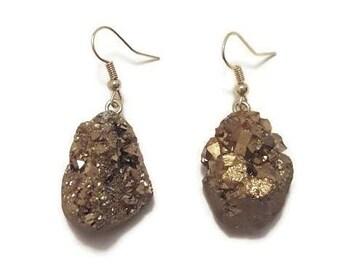 Gold Druzy Earrings - Gold Druzy Drop Earrings - Gold Drop Earrings - Druzy Drop Earrings - Druzy Dangle Earrings - Gold Dangle Earrings
