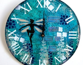 "12"" original mixed media fairy wall clock"