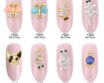 3d nail charms 10pcs 3d French Bulldog opal nail art gems butterfly animal design jewelry nails snake decorations new arrive charm