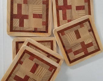 Recycled wood drink coasters (set of 6)