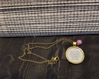 Wuthering Heights Quote Necklace, She was a wild, wicked slip of a girl, Emily Brontë, Book Nook, Book Lover Gift, MarjorieMae