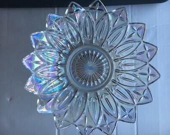 Iridescent Carnival Federal Glass Petal Serving Bowl