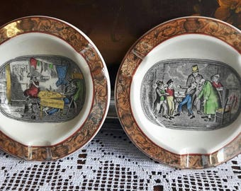 Pair of Adams English ironstone ashtrays pictorial scenes unusual from member of Wedgwood group.