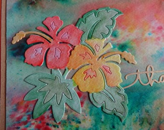 Tropical thank you card with hibiscus flowers v. 2