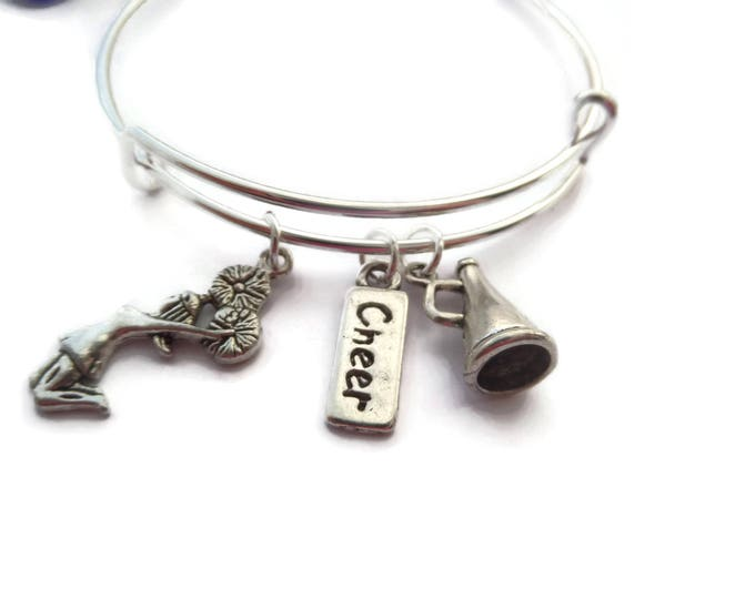 LOVE to CHEER inspired silver tone charm expandable 65mm bangle CHEERLEADER jewellery gift xmas Uk