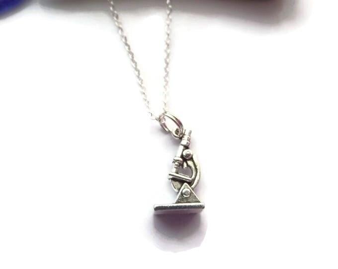 Microscope necklace, csi necklace, scientist necklace, science gift, crime gift, science necklace, fan gift, novelty gift, sandykissesuk