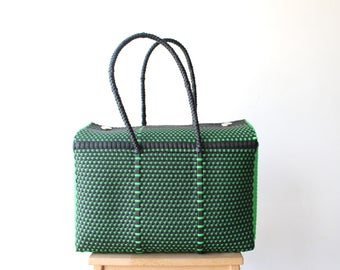 Black & Neon Green Woven Mexican bag, Picnic Basket, Beach Bag, Gifts for her, Mexican Gifts, Oaxaca Tote Bag, Woven Bag, Mexican Basket