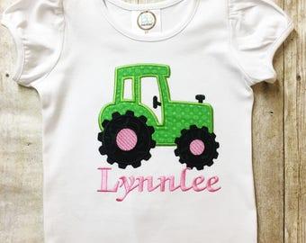 Girl Tractor Shirt, Girl John Deere Shirt, Girl Tractor Outfit, Girl Personalized Shirt, John Deere Personalized Shirt, Tractor Girl Shirt