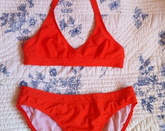 APC two piece bright orange swimsuit triangle top low waisted bottom / small - 36 / 38