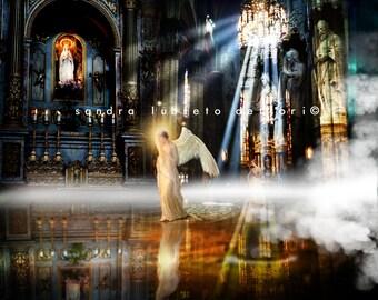 "Religious Art, Catholic Art, Heaven on Earth Print  8x10"" horizontal"