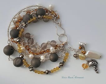 Multi Strand Bracelet with Gray Druzy beads, pearls, and crystals