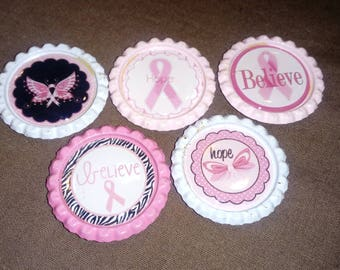 Breast Cancer Awareness _ Pink & white Bottle Cap Magnets - 5 pc Set