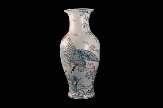 Macau Table Vase, Hand Painted, Crane Bird and Floral, White, Chinese Porcelain
