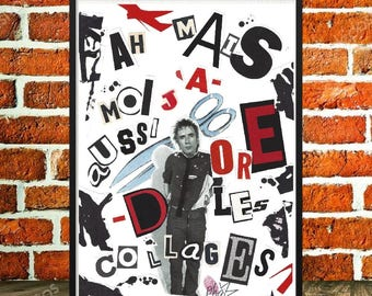 """Original collage, displays fancy, Johnny Rotten, sex pistols, collage and art collections, music, punk rock poster, """"Johnny R stuck"""""""