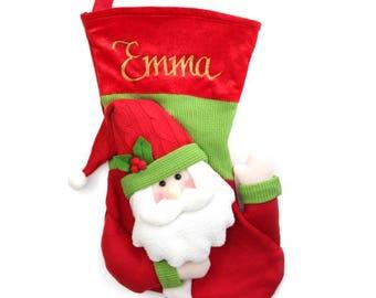 Personalised 3D Santa Christmas Stocking