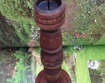 Vintage hand carved Candle Holder, Bulgarian Wooden Candle Holder, Wood Art Home Decor, Wood Art Candle Holder