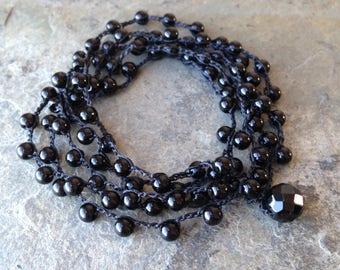 Boho Black Onyx Crocheted Beaded Wrap Bracelet/Necklace