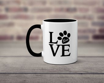 Dog Lover 11 ounce ceramic coffee mug.