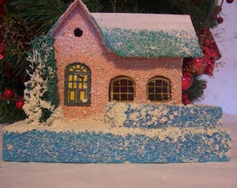 Mica Putz Coconut Paper Christmas House, Japan