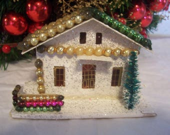 Vintage Putz Coconut Paper Christmas House with Mercury Glass Beads, Japan