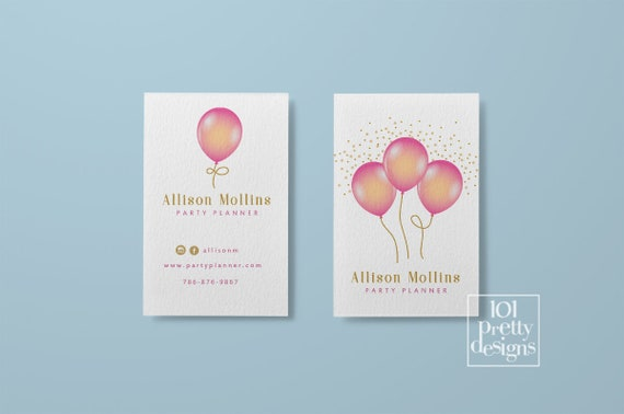 Balloons business cards printable business card design party planner il570xn reheart Gallery