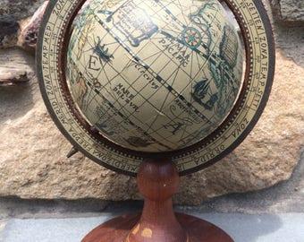 Vintage Small Desk Globe...Hong Kong. Round. Map. Geography. Wood.