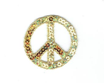 Peace Sign - Gold Sequin - Iron on Applique - Embroidered Patch - 1125783-G