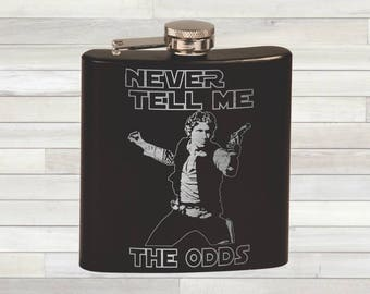 Star Wars Flask. Han Solo Inspired. Never Tell Me The Odds. Whiskey Gift. Pocket Flask. Custom Flask. Personalized Flask Gift.
