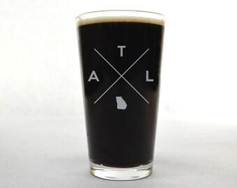 Atlanta Pint Glass | Atlanta Glass - Beer Glass - Pint Glass - Beer Glasses - Pint Glasses - Beer Mug - Atlanta - Gift for Dad