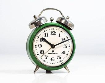 10% OFF Alarm Clock Desk clock. Vintage alarm clock. Retro alarm clock. Antique alarm clock Mechanical alarm clock. Polish clock Mera Poltik