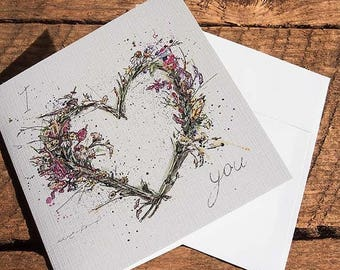 Greeting card – Floral Heart by Marie-Eve Pharand - I love you