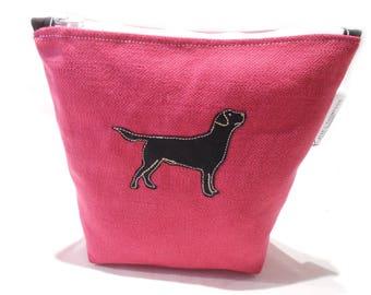 Pink Makeup Bag, Dog Pencil Case, Labrador Cosmetic Bag, Pink Cosmetic Bag