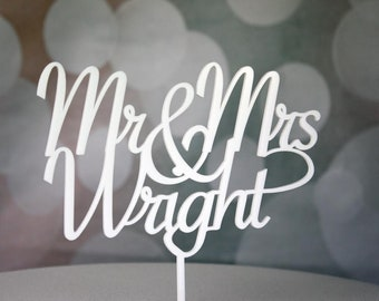 Wedding Cake Topper Decoration Personalised with Mr & Mrs Surname