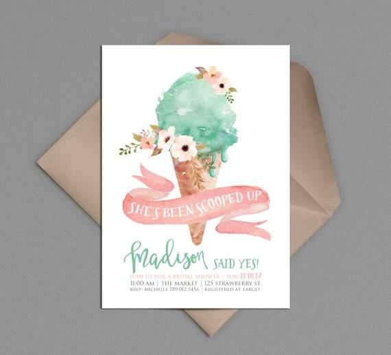Eis Brautdusche Einladung, Sie Ist U Oben, Hier Ist Die Kugel Eis Kegel  Sozialen Dusche Rosa Mint Aquarell Hochzeitseinladung