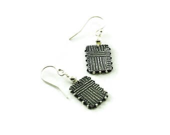 Dots earrings - silver rectangle earrings