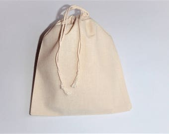 "10 Cotton Drawstring Bags * Muslin Wrapping Bags *Plain Muslin Pouches * 7"" x 8"" (18cm x 20cm)"