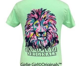 Girlie Girl Originals Watercolor Lion Mint Short Sleeve T-Shirt