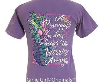 Girlie Girl Originals Pineapple Worries Away Violet Comfort Colors T-Shirt