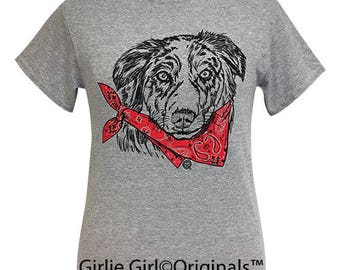 Girlie Girl Originals Paisley Bandana Australian Shepard Sport Grey Short Sleeve T-Shirt