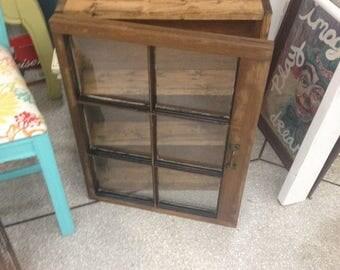 SUMMER SALE 6 pane window shelf-window cabinet- wall cabinet- medicine cabinet- curio cabinet- shadow box- old window- window cabinet- rusti