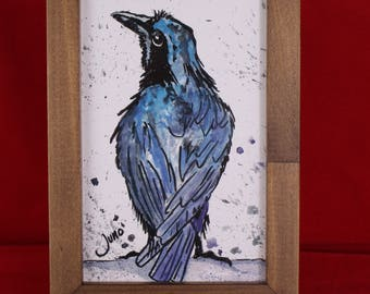 Pen & Ink Drawing Watercolor Raven painting, Framed Raven Wall Art, Miniature Framed Raven Wall Art Print, Raven Gifts for her, him