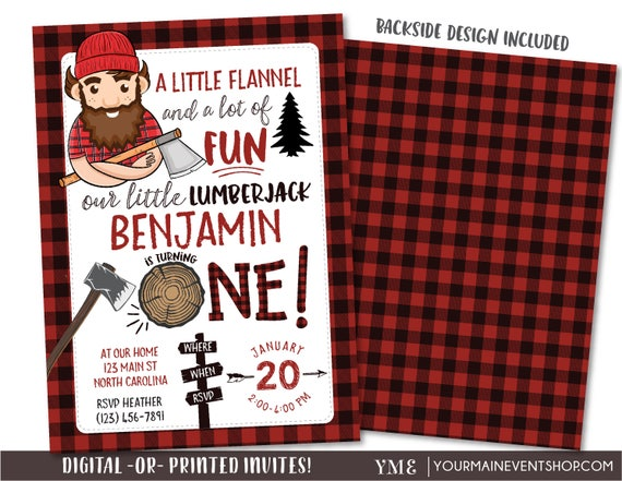 Lumberjack Invitation, Lumberjack Picture Invitation, Red Flannel Invitation, Birthday, Lumber Jack Woodland Invite Printables