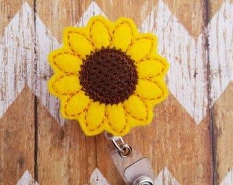 Sunflower badge reel, nurses badge reel, medical badge reel, hospital badge reel, ID badge reel, retractable badge reel, ID badge reel